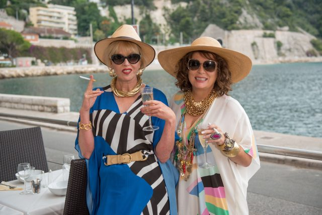 """Joanna Lumley as """"Patsy"""" and Jennifer Saunders as """"Edina"""" in the film ABSOLUTELY FABULOUS: THE MOVIE. Photo by David Appleby. © 2016 Twentieth Century Fox Film Corporation All Rights Reserved"""
